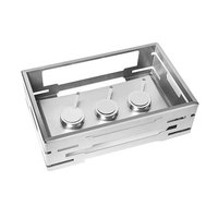 Rosseto SM229 Multi-Chef 21 5/8 inch x 13 9/16 inch x 7 inch Stainless Steel Chafer Alternative Warmer with Burner Stand and 3 Fuel Holders