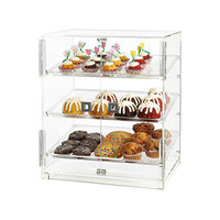 Rosseto BD124 2 Door Acrylic Bakery Display Case with 3 Frosted Trays - 20 1/4 inch x 15 1/2 inch x 21 1/4 inch