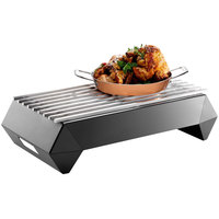 Rosseto SK047 Multi-Chef Diamond 26 inch x 15 3/4 inch x 7 1/2 inch Black Matte Steel Chafer Alternative Warmer with Grill-Top, Burner Stand, and Fuel Holder