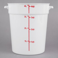 Choice 4 Qt. White Round Polypropylene Food Storage Container with Red Gradations