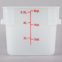 Choice 6 Qt. Translucent Square Polypropylene Food Storage Container with Red Gradations