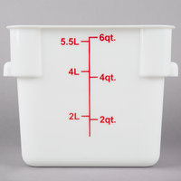 Choice 6 Qt. White Square Polypropylene Food Storage Container with Red Gradations