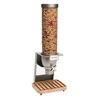 Rosseto EZ545 EZ-SERV 4.9 Liter Single Canister Tabletop Snack / Cereal Dispenser with Nickel Metallic Steel Stand and Bamboo Catch Tray - 9 inch x 9 1/4 inch x 26 inch