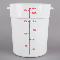 Choice 22 Qt. White Round Polypropylene Food Storage Container with Red Gradations