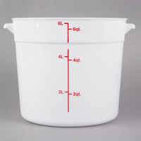 Choice 6 Qt. White Round Polypropylene Food Storage Container with Red Gradations