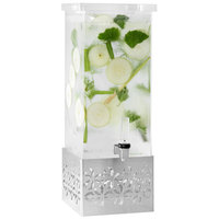 Rosseto LD161 Iris 2 Gallon Clear Acrylic Rectangle Beverage Dispenser with Stamped Stainless Steel Base