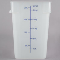 Choice 22 Qt. Translucent Square Polypropylene Food Storage Container with Blue Gradations