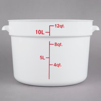 Choice 12 Qt. White Round Polypropylene Food Storage Container with Red Gradations