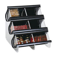 Rosseto EZO739 6 Compartment Black Acrylic Condiment EZ-Organizer