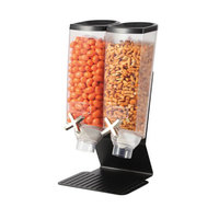Rosseto EZ50299 EZ-PRO 3.8 Liter Double Canister Tabletop Snack / Cereal Dispenser with Black Steel Stand - 9 inch x 8 inch x 17 inch