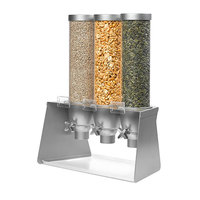 Rosseto EZ564 EZ-SERV 4.9 Liter Triple Canister Tabletop Snack / Cereal Dispenser with Stainless Steel Stand - 18 inch x 13 1/2 inch x 26 1/2 inch