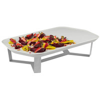 Rosseto SM281 Forme Ivory Melamine Rectangle Tray with 4 inch Silver 4-Leg Riser