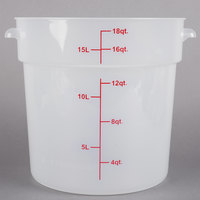 Choice 18 Qt. Translucent Round Polypropylene Food Storage Container with Red Gradations