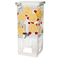 Rosseto LD106 1 Gallon Clear Acrylic Square Beverage Dispenser with Acrylic Base