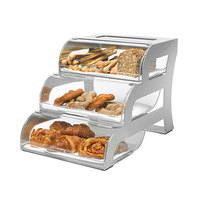 Rosseto BK010 Three-Tier Acrylic Bakery Display Case with Stainless Steel Stand - 15 1/4 inch x 23 1/4 inch x 15 1/2 inch