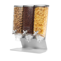 Rosseto EZ566 EZ-PRO 3.8 Liter Triple Canister Tabletop Snack / Cereal Dispenser with Stainless Steel Stand - 14 inch x 8 inch x 17 inch