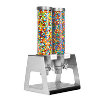 Rosseto EZ535 EZ-SERV 4.9 Liter Double Canister Tabletop Snack / Cereal Dispenser with Stainless Steel Stand and Acrylic Catch Tray - 12 inch x 13 1/2 inch x 26 1/4 inch