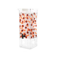 Rosseto LD146 3 Gallon Clear Acrylic Square Beverage Dispenser with Acrylic Base and Lock