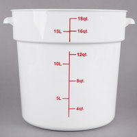 Choice 18 Qt. White Round Polypropylene Food Storage Container with Red Gradations