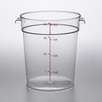 Choice 4 Qt. Clear Round Polycarbonate Food Storage Container with Red Gradations