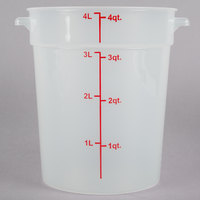 Choice 4 Qt. Translucent Round Polypropylene Food Storage Container with Red Gradations