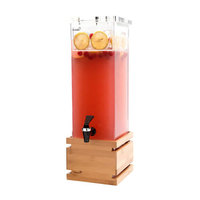 Rosseto LD112 2 Gallon Clear Acrylic Square Beverage Dispenser with Bamboo Base