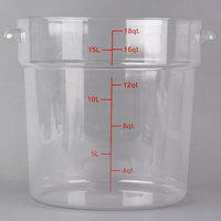 Choice 18 Qt. Clear Round Polycarbonate Food Storage Container with Red Gradations