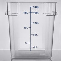 Choice 18 Qt. Clear Square Polycarbonate Food Storage Container with Blue Gradations