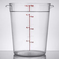 Choice 8 Qt. Clear Round Polycarbonate Food Storage Container with Red Gradations