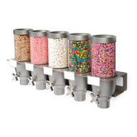 Rosseto EZ534 EZ-SERV 2.47 Liter Five Canister Wall-Mounted Topping / Candy Dispenser - 29 inch x 7 inch x 15 1/4 inch