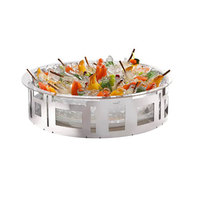 Rosseto SM187 7 3/4 inch Stainless Steel Round Ice Housing with Frosted Acrylic Insert and Drip Tray
