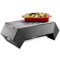 Rosseto SK046 Multi-Chef Diamond 28 inch x 16 5/8 inch x 10 inch Black Matte Steel Chafer Alternative Warmer with Grill-Top, Burner Stand, and Fuel Holder