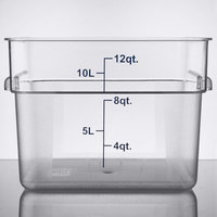 Choice 12 Qt. Clear Square Polycarbonate Food Storage Container with Blue Gradations