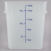 Choice 18 Qt. Translucent Square Polypropylene Food Storage Container with Blue Gradations