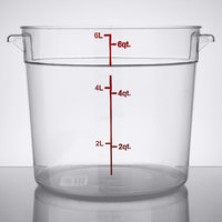 Choice 6 Qt. Clear Round Polycarbonate Food Storage Container with Red Gradations