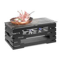 Rosseto SK032 Multi-Chef 21 5/8 inch x 13 5/8 inch x 10 7/16 inch Black Matte Steel Chafer Alternative Warmer with Grill-Top, Burner Stand, and 3 Fuel Holders