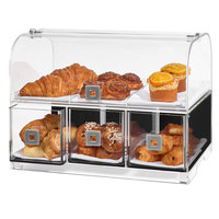 Rosseto BD128 3 Drawer Acrylic Dome Bakery Display Case with 3 Row Divider Tray - 19 1/8 inch x 12 13/16 inch x 15 inch