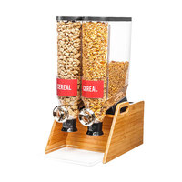 Rosseto DS103 PRO-BULK 13.3 Liter Double Canister Tabletop Snack / Cereal Dispenser with Natural Bamboo Stand and Catch Tray - 13 inch x 20 1/2 inch x 25 inch