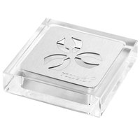 Rosseto LD158 Iris Acrylic Square Drip Tray with Stainless Steel Insert - 4 1/4 inch x 4 1/4 inch x 1 inch
