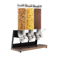 Rosseto EZ520 EZ-SERV 4.9 Liter Triple Canister Tabletop Snack / Cereal Dispenser with Black Matte Steel Stand and Walnut Catch Tray - 21 inch x 9 inch x 26 inch
