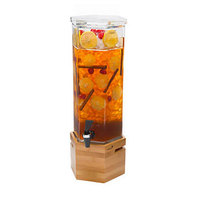 Rosseto LD114 2 Gallon Clear Acrylic Honeycomb Beverage Dispenser with Bamboo Base