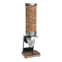 Rosseto EZ529 EZ-SERV 7.6 Liter Single Canister Tabletop Snack / Cereal Dispenser with Black Matte Steel Stand and Walnut Catch Tray - 9 inch x 9 1/4 inch x 28 5/16 inch