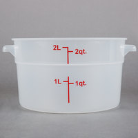 Choice 2 Qt. Translucent Round Polypropylene Food Storage Container with Red Gradations