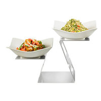 Rosseto SM282 Swan 14 5/16 inch Stainless Steel Riser with 2 Forme Melamine Bowls