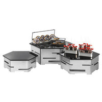 Rosseto SK012 Honeycomb Stainless Steel Hexagon Riser and Tempered Glass 6-Piece Set