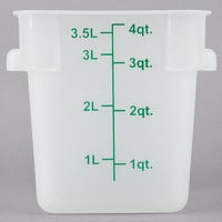 Choice 4 Qt. Translucent Square Polypropylene Food Storage Container with Blue Gradations