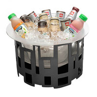 Rosseto SM180 10 inch Tall Black Matte Steel Round Ice Housing with Frosted Acrylic Insert and Drip Tray