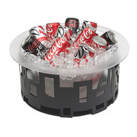 Rosseto SM182 7 inch Short Black Matte Steel Round Ice Housing with Frosted Acrylic Insert and Drip Tray