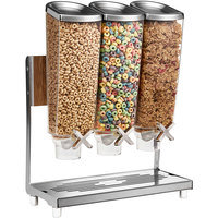 Rosseto EZP2135 EZ-PRO 3.8 Liter Triple Canister Tabletop Food Dispenser with Stainless Steel Stand and Catch Tray - 16 inch x 8 inch x 21 inch