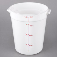 Choice 8 Qt. White Round Polypropylene Food Storage Container with Red Gradations